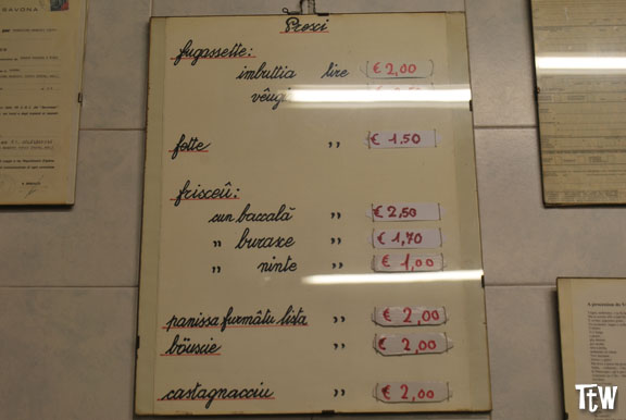 Listino prezzi (negozio in vico Crema, Savona)