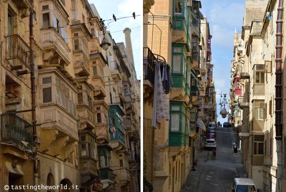 La Valletta, Malta - strette vie del centro coi tipici balconi in legno
