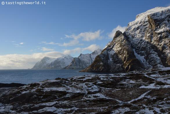 Paesaggio delle isole Lofoten in inverno