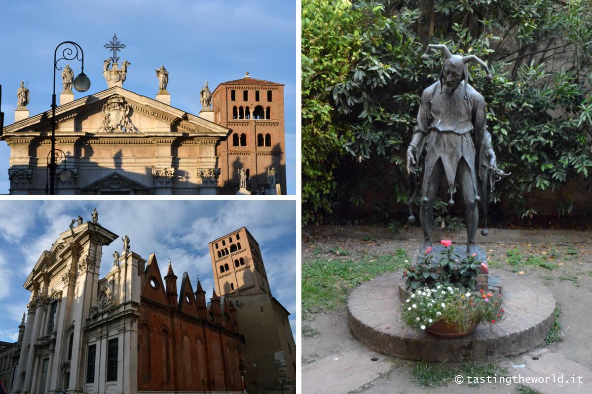 Duomo di Mantova e statua del Rigoletto
