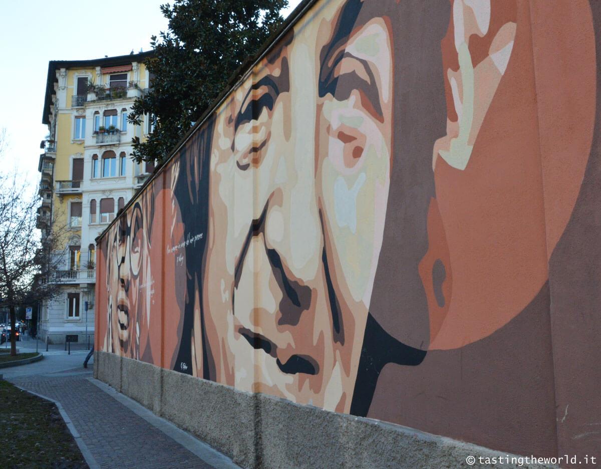 Murales di Giorgio Gaber in piazza Cardinal Ferrari a Milano