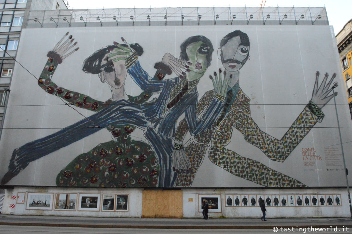 Teatro Lirico di via Larga, Milano (facciata con lavori in corso e omaggio di Marras a Giorgio Gaber)