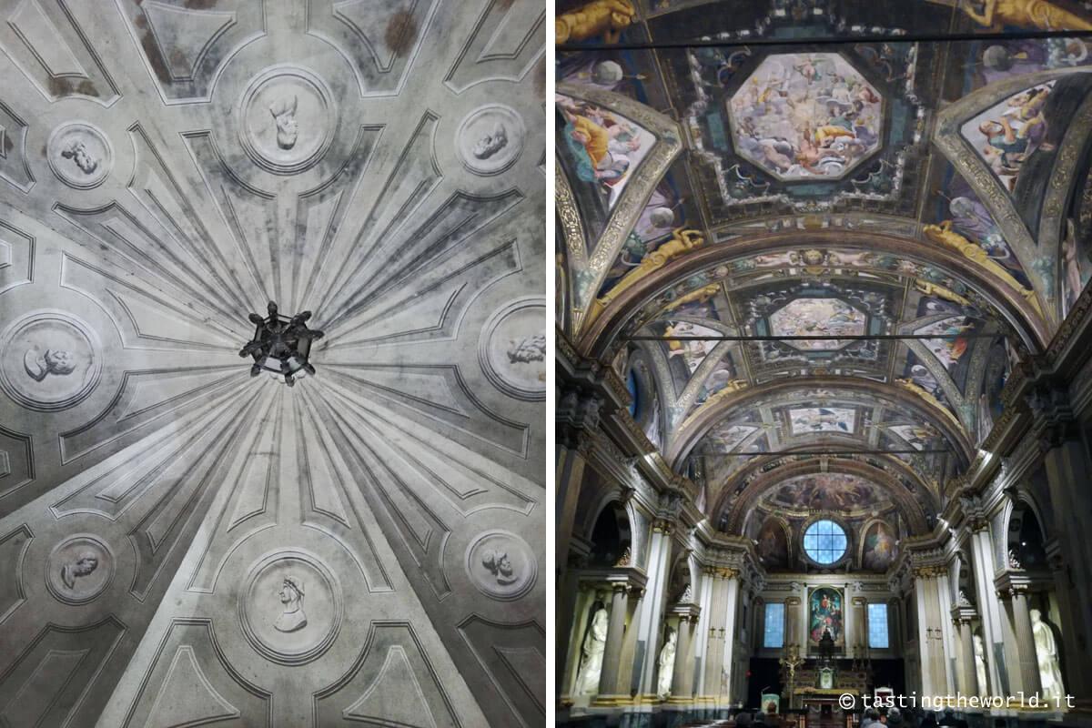 Cremona: il soffitto di un cortile interno di un palazzo e l'interno della chiesa di Sant'Abbondio